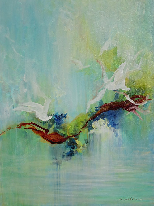 Abstract Forest Pond Painting. Floral Garden. Tropical Flowers and Birds