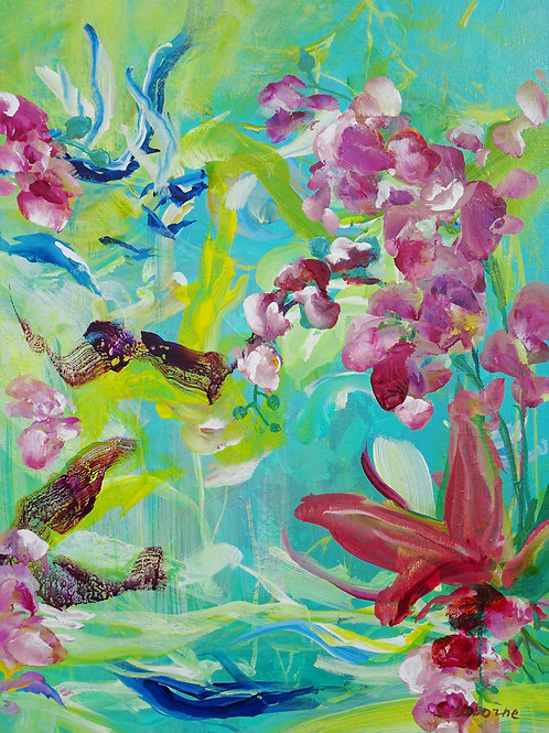 Abstract Pink Orchids Original Painting. Contemporary Floral Impressionistic Art