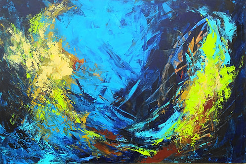 Large Blue Modern Abstract Textured Painting # 810-49
