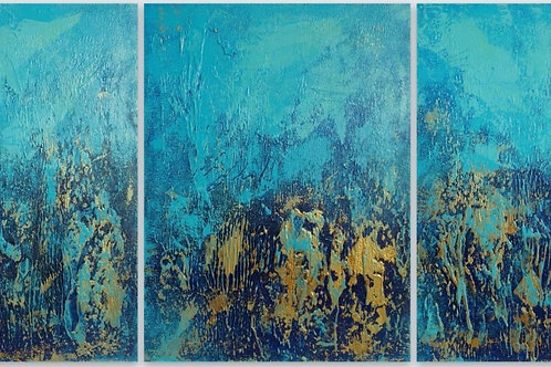 Large Blue and Gold Abstract Textured Painting. Modern Art on Canvas
