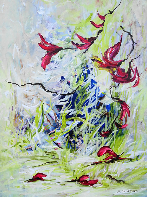 Abstract Forest Pond Painting. Floral Garden. Abstract Tropical Flowers