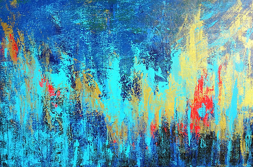 Large Abstract Blue Red Teal Painting. Abstract Seascape. Coastal Decor
