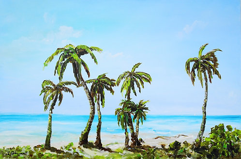 Tropical beach and palm trees. Original acrylic painting on canvas