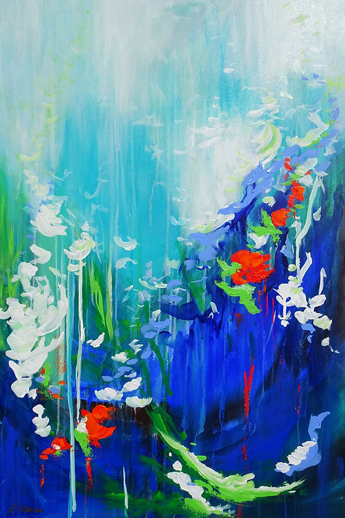 Large Abstract Floral Landscape Painting. Blue Red White Flowers Modern Fine Art