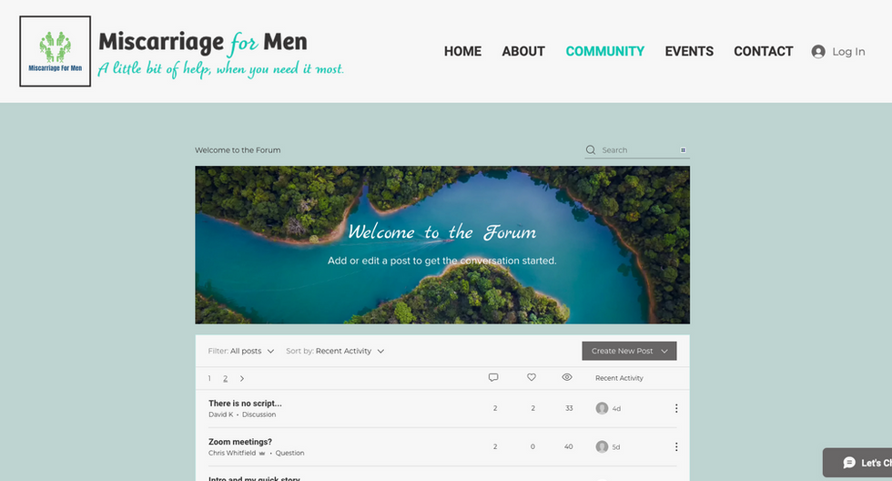Miscarriage for Men | Forum page