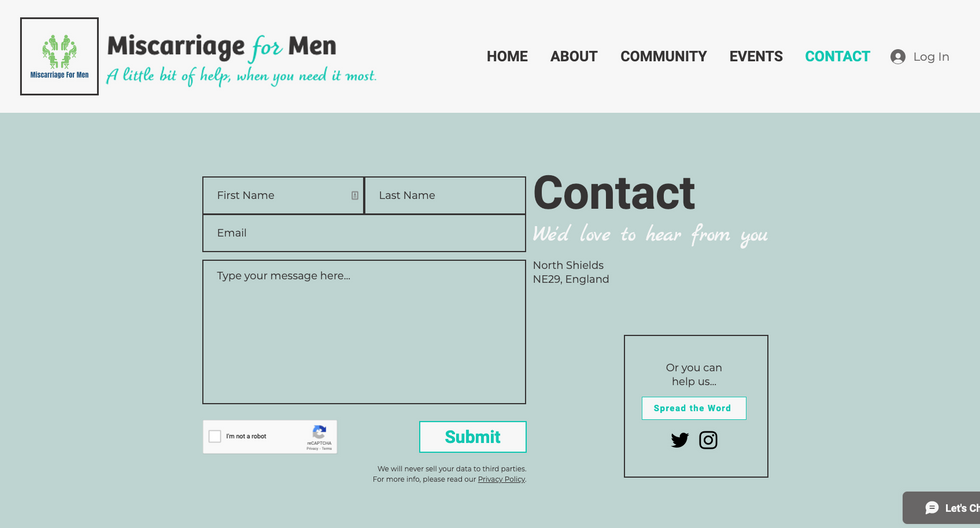 Miscarriage for Men | Contact page