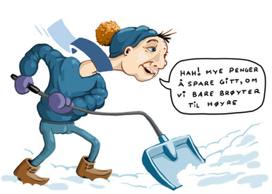 Høyre, digging snow