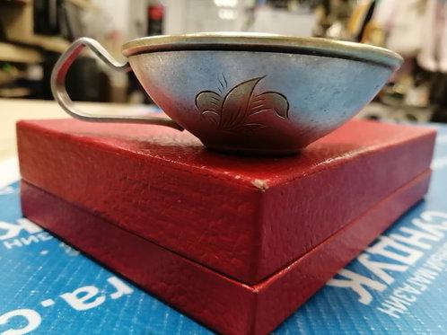 чашечка с ручкой, мельхиор, серебрение