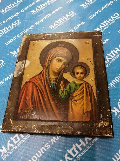Старинная Печатная Икона Казанская Божия Матерь