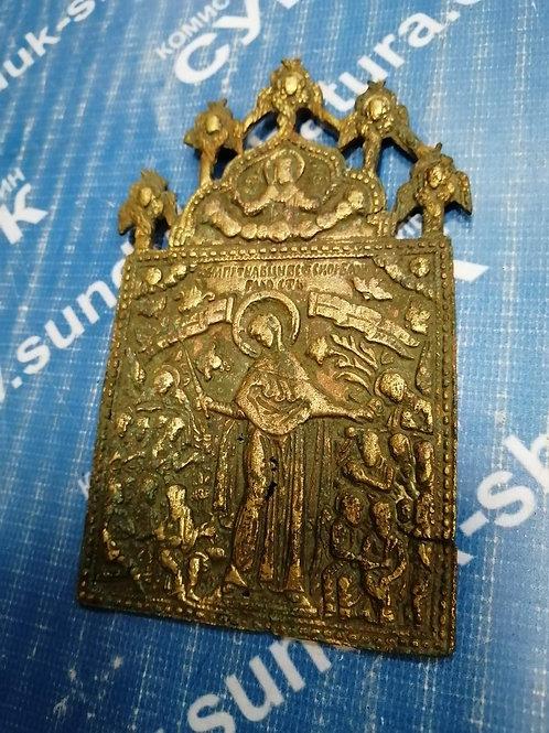 Литая икона скорбящая богородица с херувимами