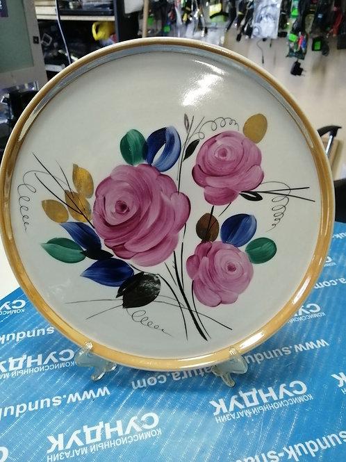 БЛЮДО ПОДНОС- Дулево расписной, цветы.фарфор