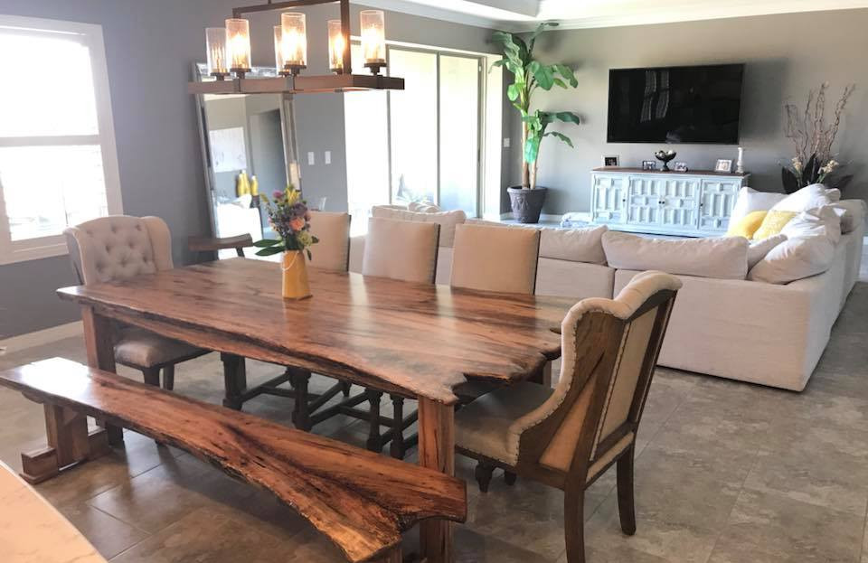 Custom Live Edge Dining Table & Bench