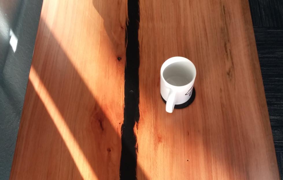Live Edge Coffee Table w/ Black Epoxy River