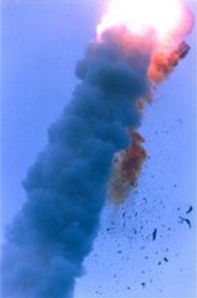 Explosion of the initial launch of Ariane 5.