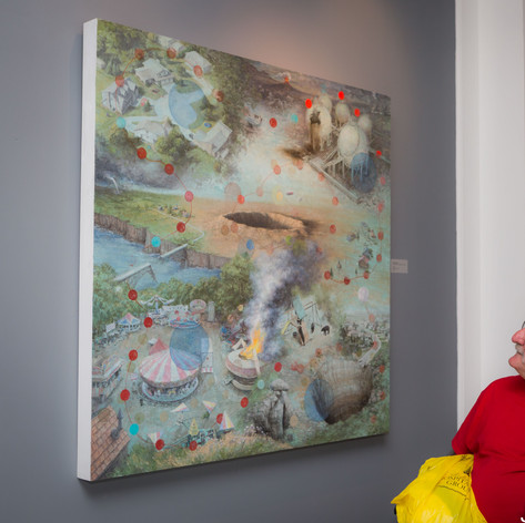 People observing Michèle Fenniak's painting