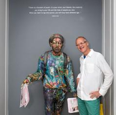 Will Kurtz with his sculpture
