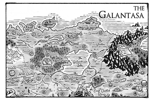 Galantasa Map Allentria from Dragon Speaker book 1 of The Shadow War Saga by Elana A. Mugdan artwork by atelierMUSE