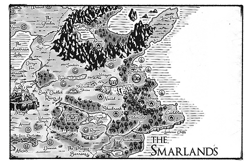 Smarlands Map Allentria from Dragon Speaker book 1 of The Shadow War Saga by Elana A. Mugdan artwork by atelierMUSE