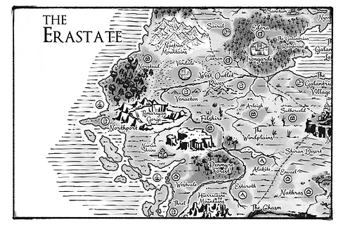 Erastate Map Allentria from Dragon Speaker book 1 of The Shadow War Saga by Elana A. Mugdan artwork by atelierMUSE