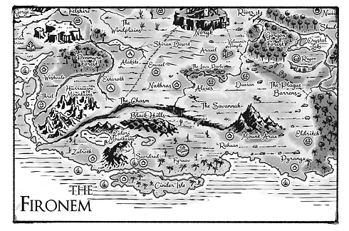 Fironem Flag map Allentria from Dragon Speaker book 1 of The Shadow War Saga by Elana A. Mugdan artwork by atelierMUSE