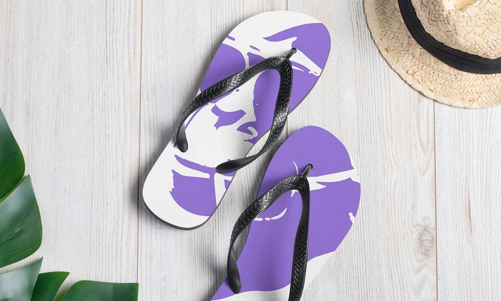 """AudioMonkeys """"Down By The Beach"""" Logo Flip-Flops Purple"""