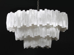 3 tier round Selenite Chandelier