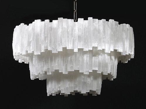 3 tier round selenite chandelier