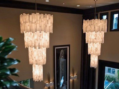 4 Tier Tear Drop Selenite Chandelier