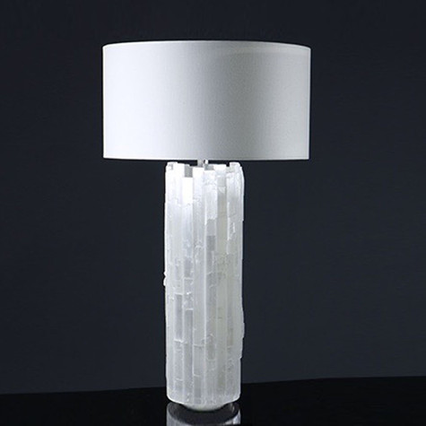 Selenite Cylinder Table Lamp