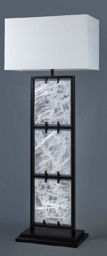 Framed Selenite Floor Lamp
