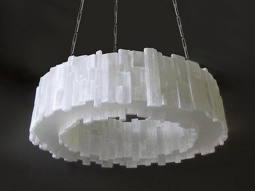 Dual sided hoop selenite chandelier
