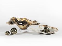 Onyx bowl w/ Pyrite Spheres