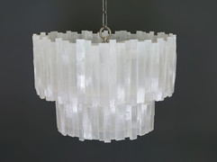 2 Tier Round Selenite Chandelier