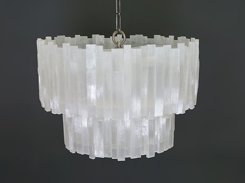 2 tier round selenite chandelier