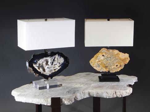 """Horizontal"" Agate Table Lamps"