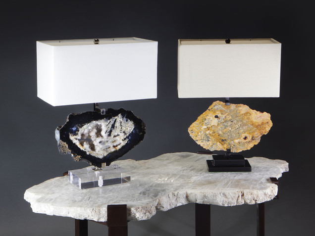 """Horizontal"" Agate Table Lamps"