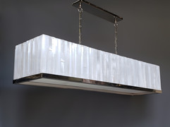 Rectangle Tailored Selenite Chandelier with Trim