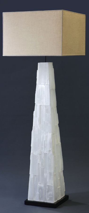 Selenite Pyramid Floor Lamp