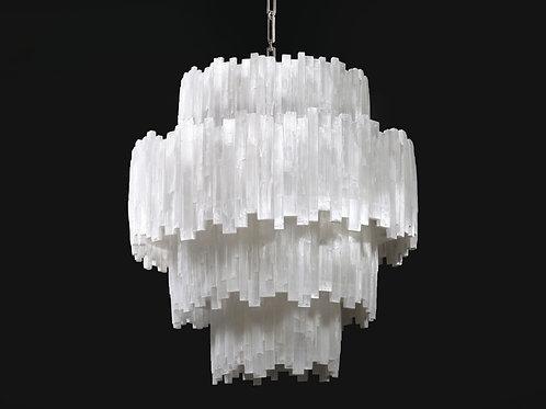 4 tier selenite round chandelier