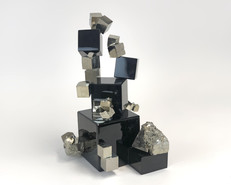 Obsidian Pyrite Cube Sculpture