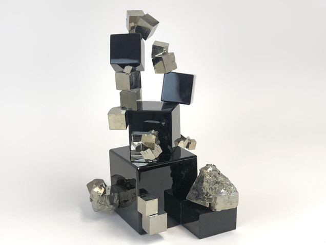 Obsidian Pyrite Cube Sculpture