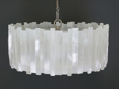 1 Tier Round Selenite Chandelier