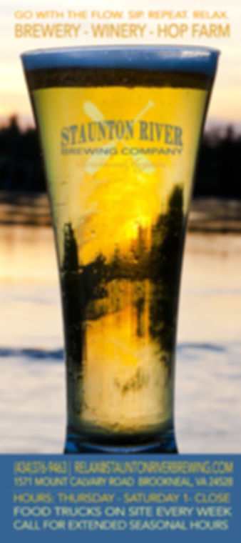 Staunton River Brewing Company, Brookneal Virginia, Virginia Craft Beer that goes with the flow. Rack Card Front
