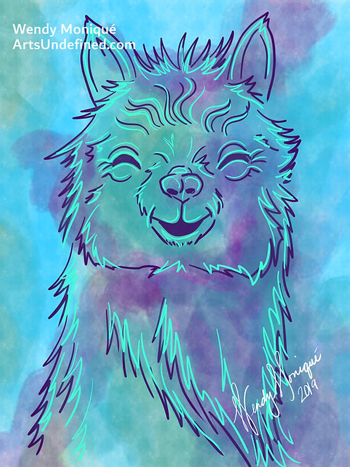 Laughing Animals Series - Amelia Alpaca (11x14 Matted)