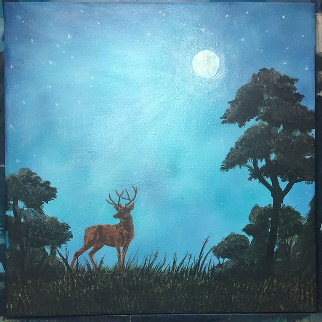 Stag in Moonlight (Acrylic with glow!) #ArtsUndefined #WendyMoniqueArt #WendyMonique