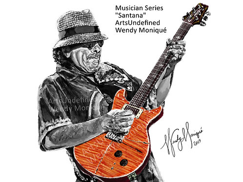 "copy of Musician Series ""Santana"" Art Print (11x14 Matted)"