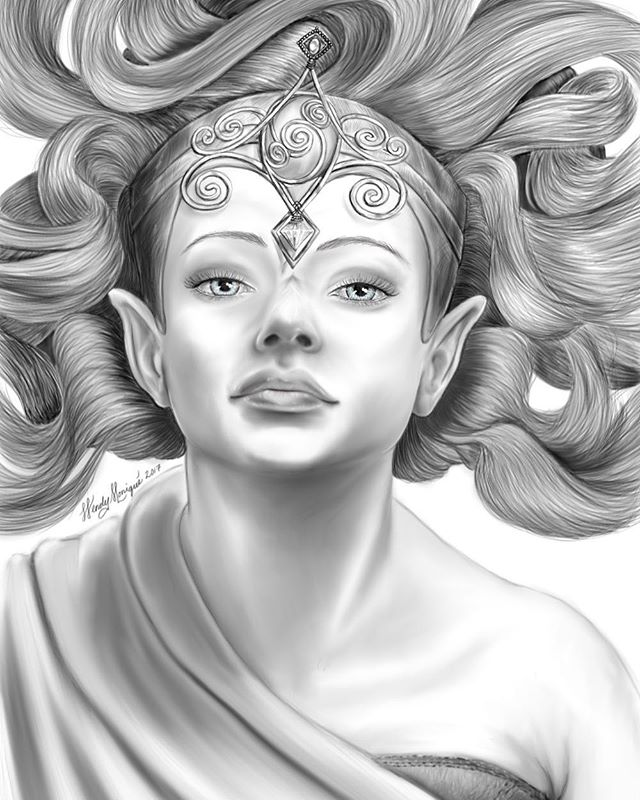 Elven Warrior Princess (Drawn with Sketchbook on Samsung Note Tablet) #ArtsUndefined #WendyMoniqueAr