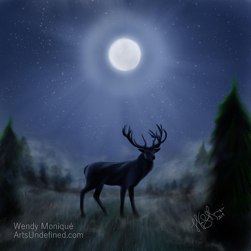 Stag in Moonlight (12x12 Matted)