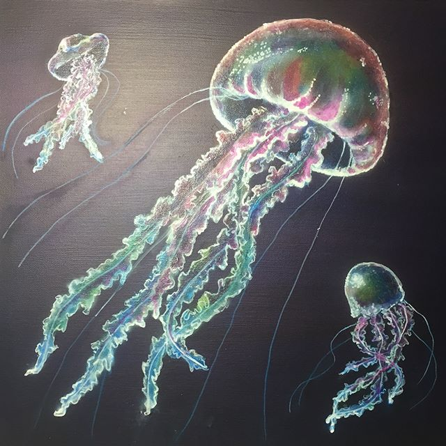 Jellyfish (Acrylic with glow!) #ArtsUndefined #WendyMoniqueArt #WendyMonique