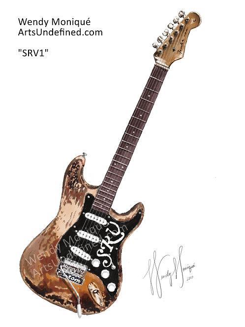"""Musician Series """"SRV1"""" Art Print (11x14 Matted)"""